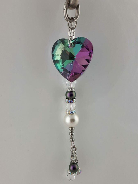 Handmade tassel in purple Pandora with purple & green Swarovski crystals