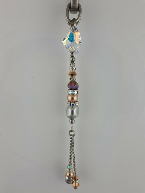Handmade tassel in pink & authentic AB Pandora with stainless and Swarovski crystals