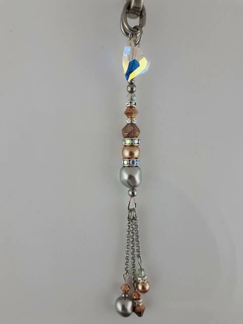 Handmade tassel in grey hematite and rose gold Pandora with stainless and Swarovski crystals