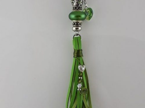 Handmade tassel in green kangaroo leather with green & silver Pandora style, Swarovski crystals and stainless steel
