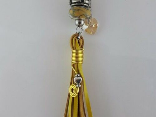 Handmade tassel in yellow kangaroo leather with Pandora style, Swarovski crystals and stainless steel