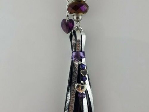 Handmade tassel in silver kangaroo leather with rose Pandora style, Swarovski crystals and stainless steel