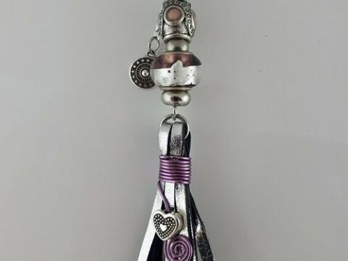 Handmade tassel in silver kangaroo leather with rose & light purple Pandora style and stainless steel