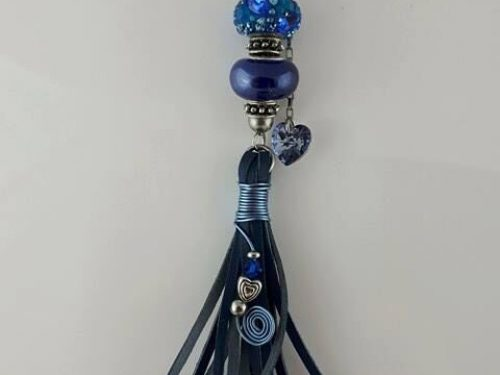 Handmade tassels in blue kangaroo leather with blue Pandora, stainless and Swarovski crystals