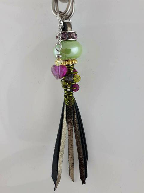 Handmade tassel in pewter kangaroo leather with green Pandora style, Swarovski crystals and stainless steel