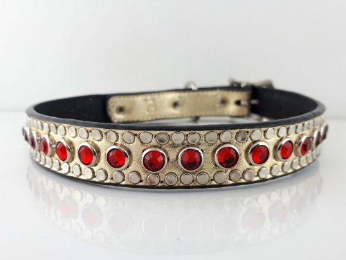 Dog Collar All Swarovski in gold metallic Italian leather with siam Swarovski crystals