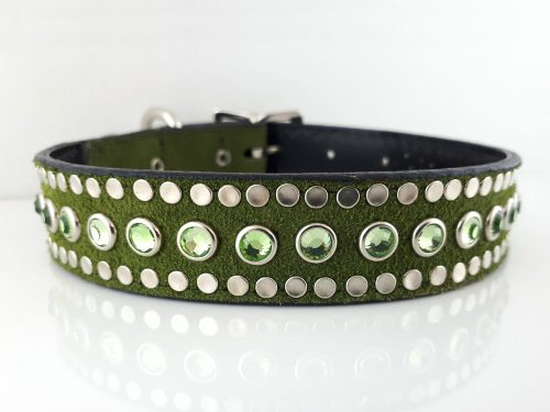 Dog Collar All Swarovski in green suede and Italian leather with peridot Swarovski crystals