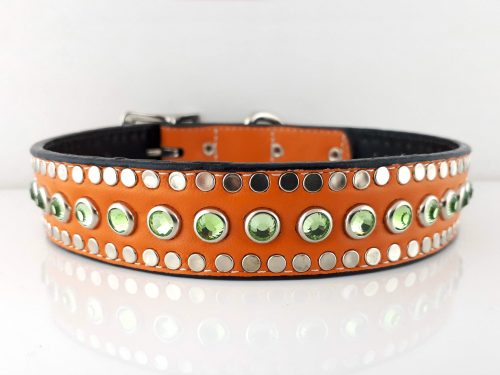Dog collar All Swarovski in orange kid skin Italian leather with peridot Swarovski crystals