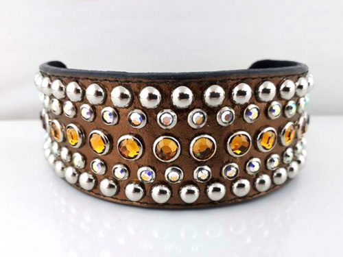 Dog collar Diva in bronze metallic Italian leather with topaz and AB Swarovski crystals