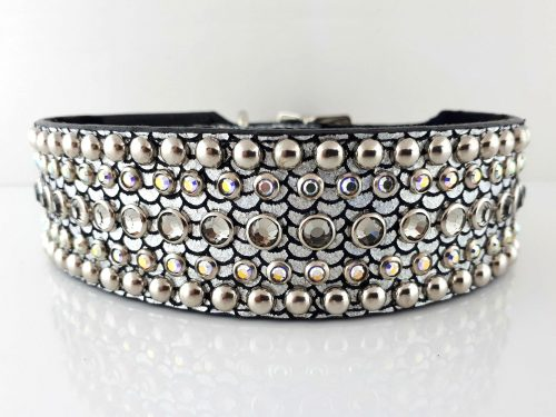 Dog collar Diva in shiny Italian leather with black diamond and AB Swarovski crystals