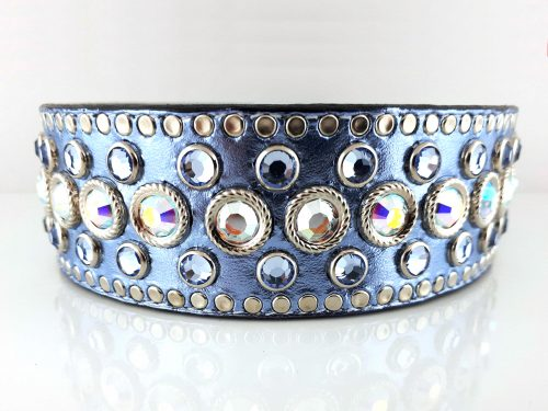 Dog collar Princess Crystal in blue metallic Italian leather with AB & light sapphire Swarovski crystals