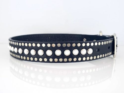 dog collar All Pearl in black Italian leather with white pearls