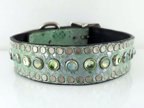 Dog Collar All Swarovski in aquamarine suede and Italian leather with peridot and sea foam Swarovski crystals
