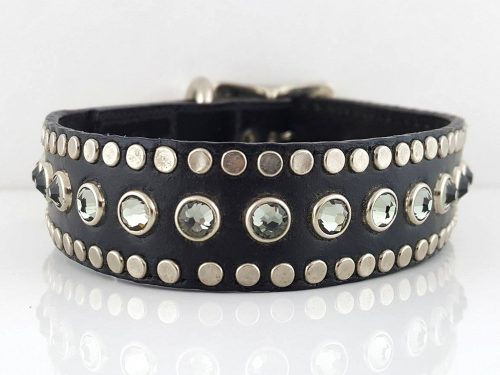 Dog-Collar-All-Swarovski-Black-leather-with-Black-Diamond-Swarovski-crystals-ASBLBD