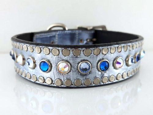 Dog Collar All Swarovski in blue metallic Italian leather with Bermuda blue, aqua and AB Swarovski crystals