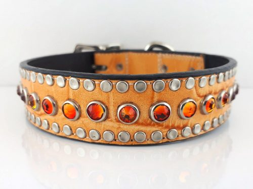 Dog Collar All Swarovski in orange kid skin Italian leather with fire opal Swarovski crystals