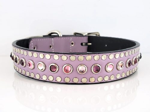 Dog collar All Swarovski in lavender Italian leather with amethyst, light amethyst and rose Swarovski crystals