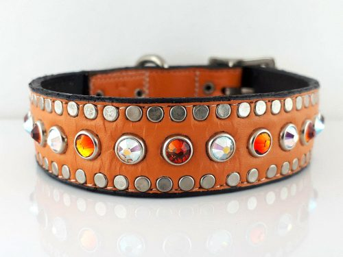 Dog Collar All Swarovski in orange kid skin Italian leather with AB and fire opal Swarovski crystals