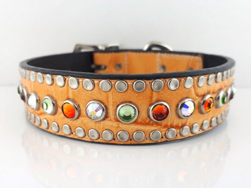 Dog Collar All Swarovski in orange kid skin Italian leather with AB, peridot and fire opal Swarovski crystals