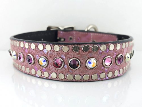 Dog Collar All Swarovski in Italian leather and pearl pink suede with AB, rose and velvet Swarovski crystals