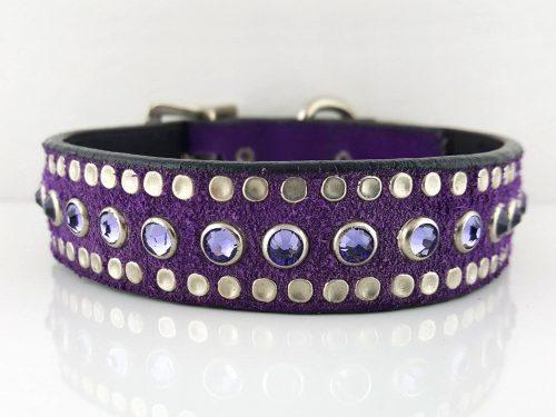 Dog Collar All Swarovski in Italian leather and purple suede with velvet Swarovski crystals
