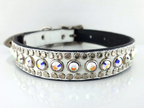 Dog Collar All Swarovski in white Italian crocko leather with AB Swarovski crystals