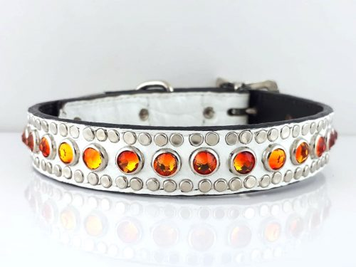 Dog Collar All Swarovski in white Italian crocko leather with fire opal Swarovski crystals
