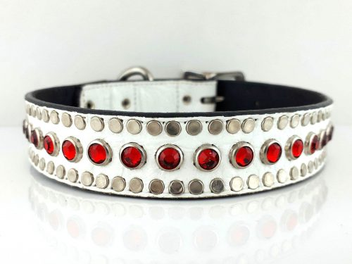 Dog Collar All Swarovski in white Italian crocko leather with siam Swarovski crystals