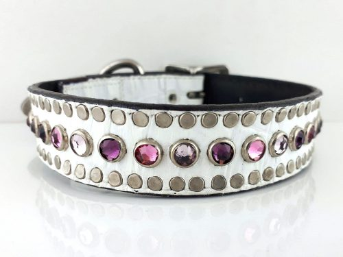Dog Collar All Swarovski in white Italian crocko leather with amethyst, light amethyst and rose Swarovski crystals