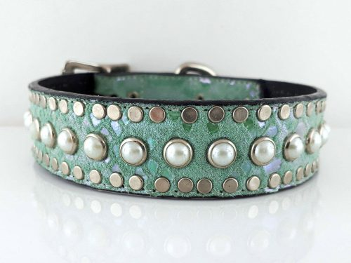 Dog collar All Pearl in Italian leather and aquamarine suede with white pearls