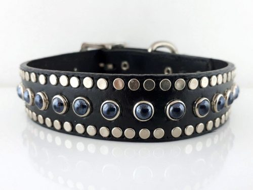 Dog collar All Pearl in black Italian leather with black pearls