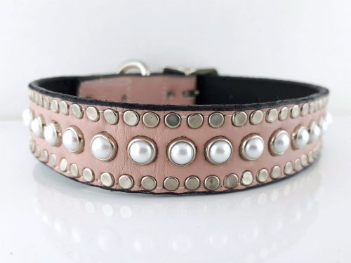 Dog collar All Pearl in pink Italian leather and and white pearls