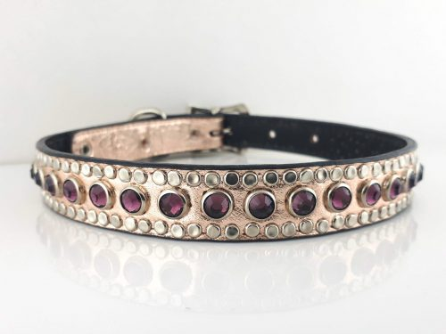 Dog Collar All Swarovski in pink metallic Italian leather with amethyst Swarovski crystals