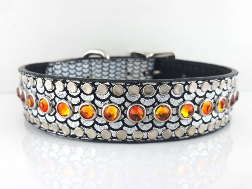 Dog Collar All Swarovski in shiny Italian leather with fire opal Swarovski crystals