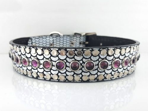 Dog Collar All Swarovski in shiny Italian leather with amethyst Swarovski crystals