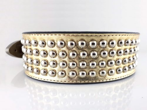 Dog Collar Brutus in gold metallic Italian leather with studs