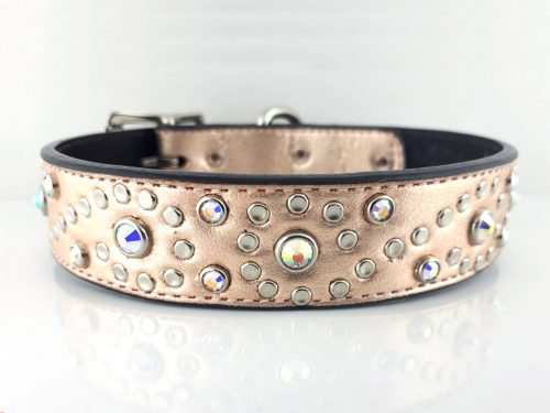 Dog Collar Crystal S in pink metallic Italian leather with AB Swarovski crystals