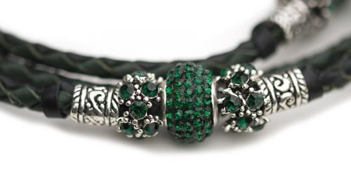 Kangaroo leather show lead in black & dark green 1