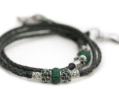 Kangaroo leather show lead in black & dark green 3