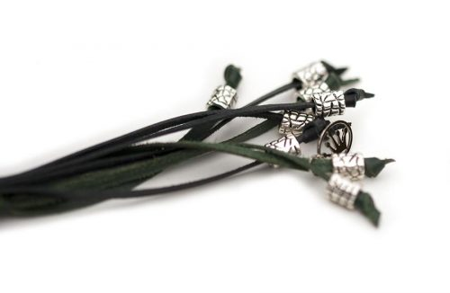 Kangaroo leather show lead in black & dark green 4