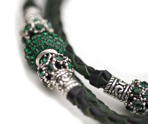 Kangaroo leather show lead in black & dark green 5