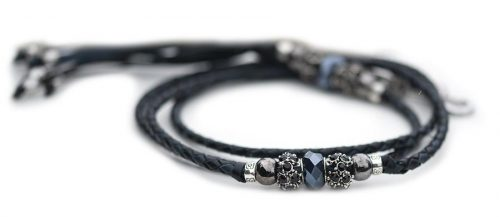 Kangaroo leather show lead in black & navy 1