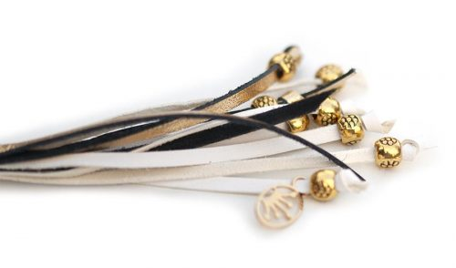 Kangaroo leather show lead in gold & white 4