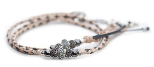 Kangaroo leather show lead in natural & grey 1