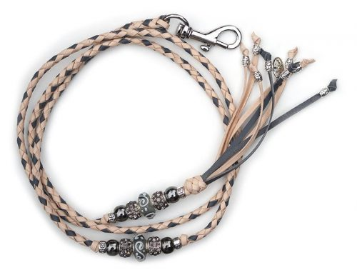 Kangaroo leather show lead in natural & grey 2