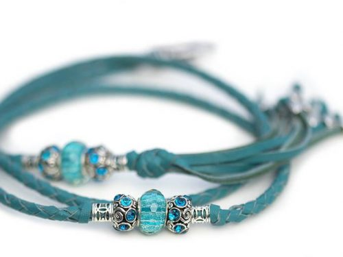Kangaroo leather show lead in turquoise 1