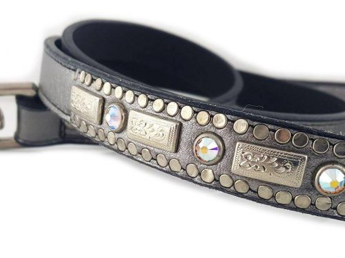 Square Crystal in pewter metallic Italian leather with AB Swarovski crystals.