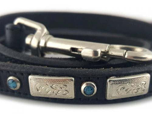 Square Turquoise in black Italian leather with blue turquoise.