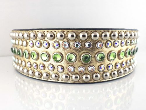 Dog collar Diva in gold metallic Italian leather with peridot and AB Swarovski crystals