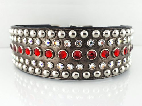 Dog collar Diva in pewter metallic Italian leather with siam and AB Swarovski crystals